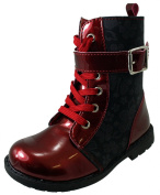 Small Girls Patent Leather Look High Ankle BIKER Boots BLACK RED PURPLE Sz 5-10