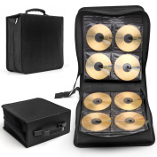 Flexzion CD DVD Carrying Case 288 Capacity Disc Bluray Storage Box Organiser Holder Album Container Wallet Solution Page Sleeves Binder Portable in Black
