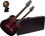 Ovation CSE225-RRB Double Neck Celebrity Ruby Red Acoustic Guitar w/Case and Tuner