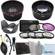 Vivitar 58mm 0.43x Wide Angle Lens + 2.2x Telephoto Lens + 3 Pieces Filter Set + 4Pc Close Up Lens + Lens Hood with Deluxe Lens Accessories Kit for Canon EF-S 55-250mm 4-5.6 IS II Lens, Canon EF 85mm 1.8 USM Lens, Canon EF 70-300mm 4-5.6 IS USM Lens an ..