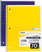 Mead Spiral Notebook, College Ruled, 1 Subject, 70 Sheets, 20cm x 27cm , Assorted Colours (05512) Pack Of 2 by Mead