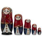 17cm Set of 5 Girls in Red Scarf and Blue Dress Russian Nesting Dolls