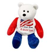 God Bless America US Flag American Patriotic Plush Stuffed Teddy Bear Doll