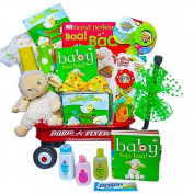 Unisex Baby Gift Basket in Radio Flyer Waggon | Great First Christmas, Easter or Valentines Day Gift for Babies