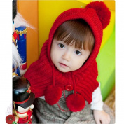 Bot Knit Cute Baby Crochet Winter Warm Hooded Hat Cap Scarf Shawl Cloak