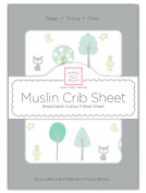SwaddleDesigns Muslin Fitted Crib Sheet, Green Woodland