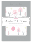 SwaddleDesigns Muslin Fitted Crib Sheet, Pink