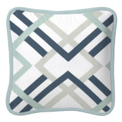 Carousel Designs Navy and Grey Geometric Decorative Pillow Square