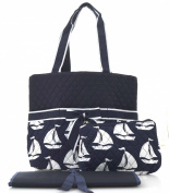 NGIL Navy Sailboat Print Quilted Nappy Bag