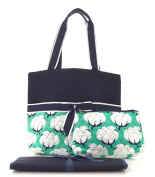 NGIL Mint Cotton Field Print Quilted Nappy Bag