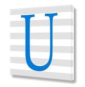 "Stretched Canvas Print Blue Letter ""U"" Monogram Letters Nursery Wall Art VWAQ-159U"
