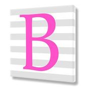 "Stretched Canvas Print Pink Letter ""B"" Monogram Letters Nursery Wall Art VWAQ-160B"
