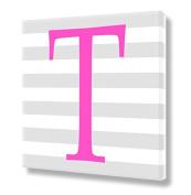 "Stretched Canvas Print Pink Letter ""T"" Monogram Letters Nursery Wall Art VWAQ-160T"