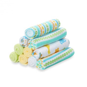 Spasilk 10-Pack Washcloth Set in Yellow Lines