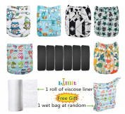 Lilbit 6 Nappy Adjustable Baby Cloth Nappies with 6 Bamboo Charcoal Inserts,flushable Viscose Liners,wet/dry Bag Ymxtzzh10
