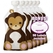 Squooshi Reusable Food Pouch | Monkey 6 Pack | Refillable Squeeze Pouches for Kids of All Ages