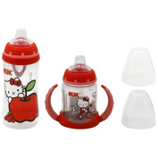 NUK Hello Kitty Silicone Spout Active Cup, 300ml with NUK Hello Kitty Silicone Spout Learner Cup, 150ml