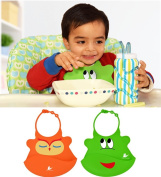 The Ultimate Waterproof Baby Bib Crumb Catcher By Noni Cuddles! Easy to Clean, Lightweight & Comfortable for Babies in Unique Designs. No More Messy Meal Times Only Fun Ones with These Soft Silicone Bibs with Safe & Friendly Neck Clasp & Open Pocket!