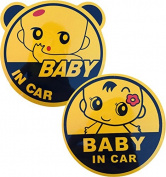 2x Baby in Car Baby on Board Graphic Safety Sticker Use Reflecting Material