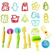 Caryko Smart Dough Tools Kit with Models and Moulds, animals with scissors, Set of 19