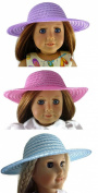 3 Straw Hats fits American Girl Dolls Pink, Light Blue, & Lavender