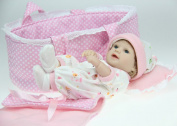 28cm Reborn Baby Full Vinyl Bathing Newborn Doll Kits with Cradle Play House Toys for Girls