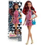 "Mattel Year 2014 Barbie Fashionistas ""Life in the Dreamhouse"" Series 30cm Doll - GRACE in Pink Neck Strap Jumpsuit with Earrings and Purse"