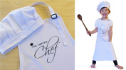 """Ole Kids """"Yes, I am the Chef"""" Children Apron + Chef Hat Set, White, 100% High Quality Cotton - Made For Real Kitchen Use, Fits 3-10 yrs"""