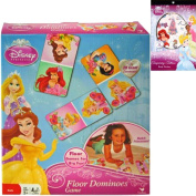 Disney Princess Floor Dominoes Game Gift Set for Kids - 1 Princess Dominos Game (28 Giant Pieces) Plus Princess Temporary Tattoo Sticker Book