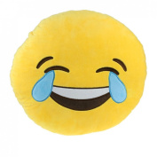 Catchvogue Soft Emoji Yellow Round Cushion Pillow Stuffed Plush Toy Doll 32cm