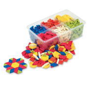 ETA Hand2Mind Plastic Pattern Blocks, Set of 250 with Activity Book