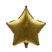 Shindgz Party Decoration Gold Holographic Star Shaped Mylar Balloon