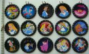 15 Alice in Wonderland BLACK Bottle Cap Pendant Necklaces Set 2