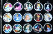 15 Alice In Wonderland SILVER Bottle Cap Pendant Necklaces Set 1