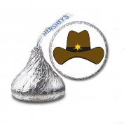 216 Western Cowboy Hat Labels/Stickers for Hershey's Kisses Candies - Party Favours