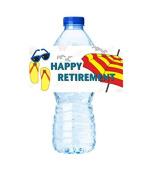 CakeSupplyShop Item#45343- 24pack Beach Umbrella Happy Retirement Party Decorations Water Bottle Stickers Labels