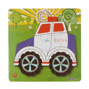 AutumnFall® Wooden Kids Jigsaw Toys for Children Education and Learning Puzzles Toys Police Car 2