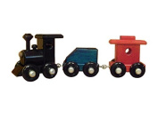 Amish-Made Wooden 20cm Toy Train Play Set, Painted