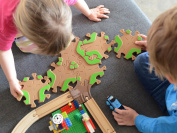 Tobo Track 15. Educational Toy Car and Wooden Train Track - CONNECTS DIRECTLY to Thomas, Brio, LEGO and other Best Selling Sets - Toddler Safe Eco Friendly Wood - Made in USA.