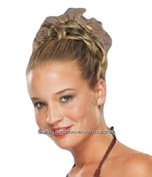 New Style Hair Extension Med Brown / Gold Scrunchie Up Do Bun Up Mult Tones Spiky Twister