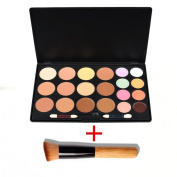 VALUE MAKERS 20 Colour Cream Contour Kit - Professional Complete Coverage Concealer Palette - Camouflage Makeup Palette - Corrective Contour Palette - Professional Cosmetics Face Contouring Primer Cream Foundation Kit + Beauty Powder Bronzer Make Up Br ..