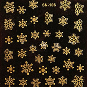 Pauler Vickers Nice Winter Christmas 3D Nail Art Stickers Shinning Gold Snowflakes Nail Decals
