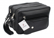 STARHIDE MEN'S GENUINE LEATHER TRAVEL OVERNIGHT WASH GYM TOILETRY BAG (BLACK) - 515