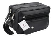 STARHIDE MEN'S GENUINE LEATHER TRAVEL OVERNIGHT WASH GYM TOILETRY BAG (BLACK) - 515