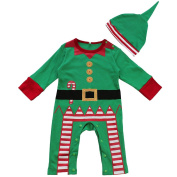 iiniim Baby Boys Christmas Santa Romper with Hat Outfit Sets
