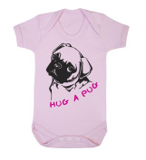 Hug A Pug Babygrow (black on pink)