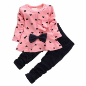 Arrowhunt Baby Girls 2PCS Outwear Pants Suit Warm Outfit Clothes 2-5Y