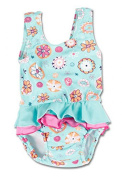 Bright Bots 12/18m Baby Girls UPF50+ Australian All in One Swim Nappy Costume Turquoise with Frill