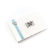 Baby Boy - photo album with pewter footprint design and blue stitched ribbon