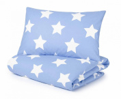 Cotbed Duvet Cover and Pillowcase Set, Blue with White Stars